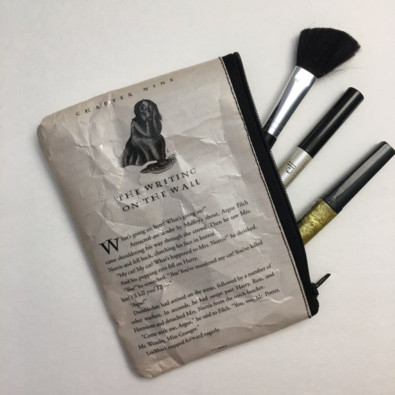 Harry Potter Book Themed Vinyl Pencil or Make-Up Pouch - The Writing on the Wall
