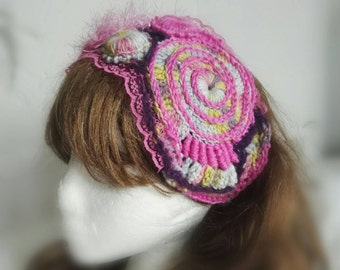 "Headband Head Scarf, Head Wrap, Pink Lace, ""Spiral Candyfloss""  Freeform Crochet, Handmade, Mixed Fibres, Ready to Post."