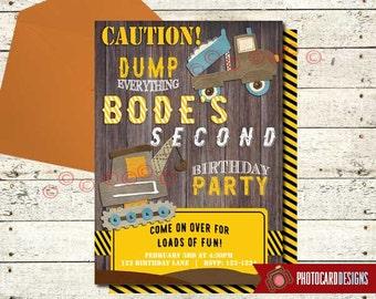 Dump Truck Invitation, Construction Birthday Invitation, Truck, Dump Truck, Invitation, Birthday, Card, Digital, Print file, invite, Party