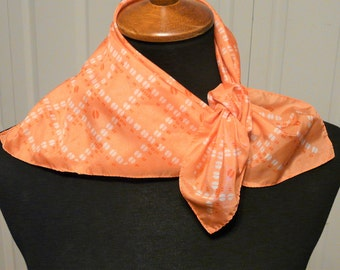Silk Coral Scarf With White Dots
