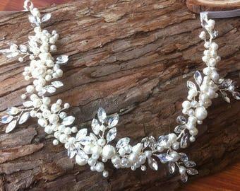 Bridal Halo ,Vine, Headband, Tiara with  Rhinestones Crystal beads and Faux pearls