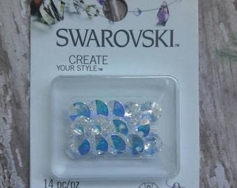 Swarovski 8mm Aurora Borealis Crystal Xilion Pendant 14pc Jewelry Supplies