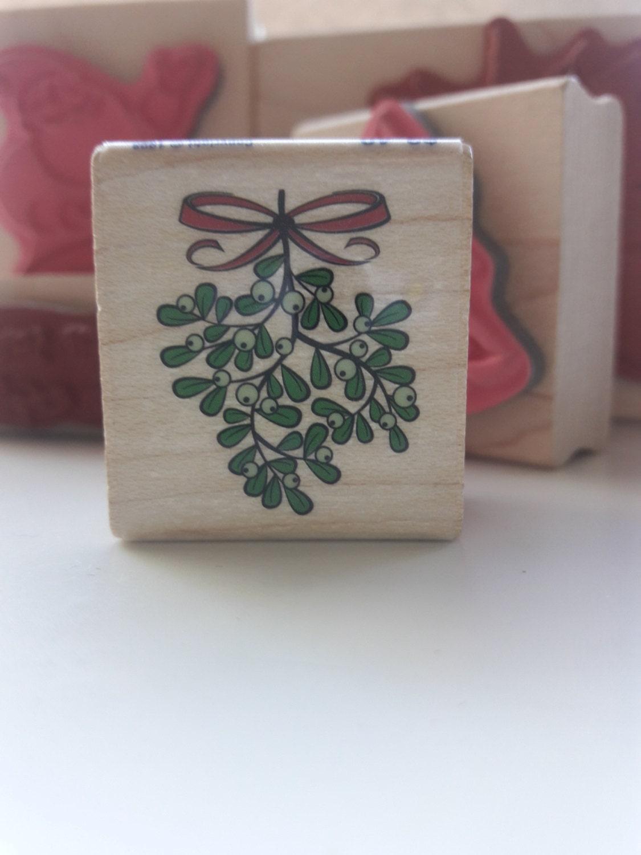 Rubber stamp craft supplies - Mistletoe Holiday Wood Mounted Rubber Stamp Craft Supplies