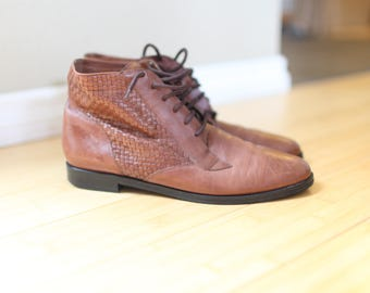 vintage woven brown leather oxfords ankle boots lace up womens  11