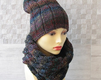 Knitted scarf Hat, infinity, Cowl, Neckwarmer Unisex Winter Accessories