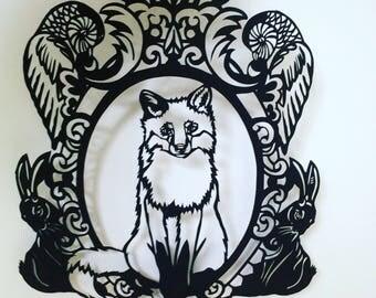 Little fox and friends papercut template download