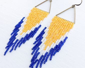Yellow White Blue Long Beaded Earrings - White Yellow Blue Beaded Fringe Earrings - Yellow Blue White Earrings - Jewelry Gift for Her