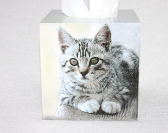 Hello Kitty, Pertt Owner, Cat Tissue Box Cover, Wooden Tissue Box Caddy, Decoupage Tissue Box Holder, Darling Pet