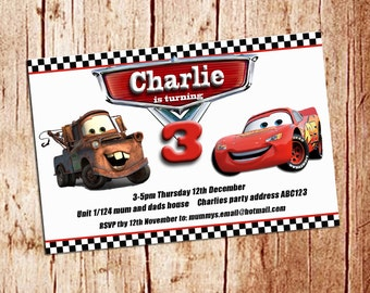Cars birthday invite