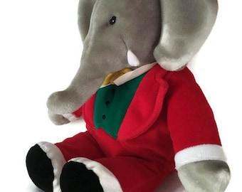 "Vintage Babar the Elephant King Plush 1988 GUND Stuffed Animal 14"", Babar Characters"