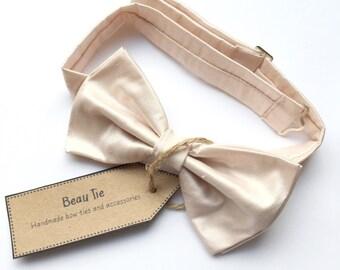 mens bow tie pink silk, blush bow tie, silk bow tie, pink bow tie, blush silk wedding