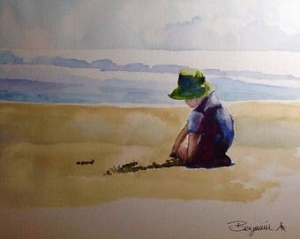 "Original Watercolour Painting,""Beach Boy""  11x14 free shipping North America and UK."