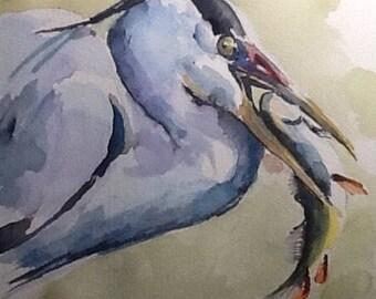 """Watercolor Paintings Original, """" Blue Heron Fisherman 2"""", 8x10 original watercolor Free Shipping!"""