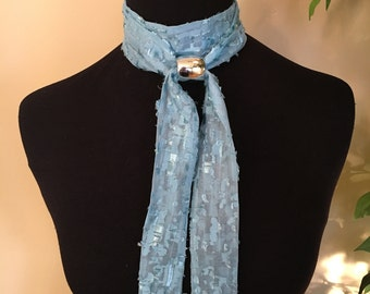 Turquoise textured skinny scarf