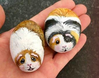 Miniature pebbles hand painted guinea pig rocks