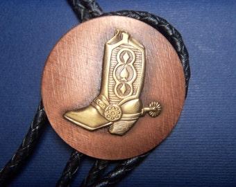 Vintage Western BOLO TIE, Cowboy Boot, Cooper & Brass