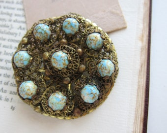 Filigree Peking glass brooch, filigree brooch, Peking glass, turquoise brooch, glass cabochon brooch, blue brooch, ornate brooch