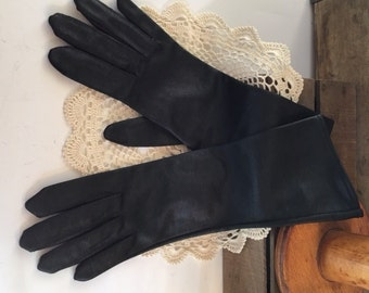 Vintage Black Nylon Gloves, Louis Fischl, Canada, Size 6 1/2, Above Wrist Length