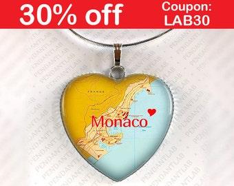 Monaco Map Pendant, Monaco Necklace, Monaco Charm, Monte Carlo Necklace, Monte Carlo Map, Monaco Jewelry, Gift, Heart, Travel, Map Necklace