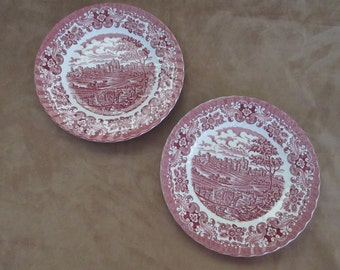 """Vintage Red Transferware British Anchor England Ironstone; Old Country Castles, 10"""" Dinner Plates, Set of two plates"""