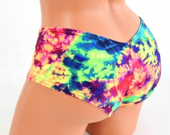 Acid Splash UV Glow Spandex Ultra Cheeky Booty Shorts Rave Hot Pants Cheekies - 154114