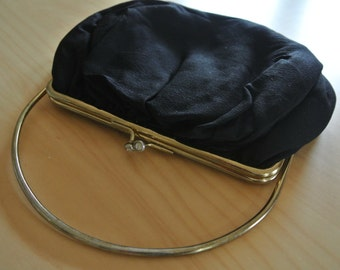 Black Minimalist Clutch by JR Retro Mod Metal Handle Cocktail Purse