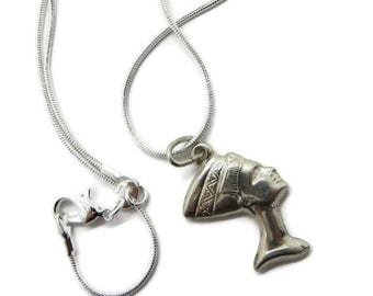 Nefertiti Silver Necklace, Vintage Sterling Silver Pendant, Two-Sided Egyptian Queen Necklace