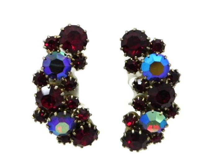 Karu Arke Earrings, Vintage Red Rhinestone Clip-on Earrings, Designer Signed Bridal Earrings Formal Wear