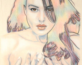 Original hand drawn portrait of Monica Bellucci, in charcoal and pastel on calico