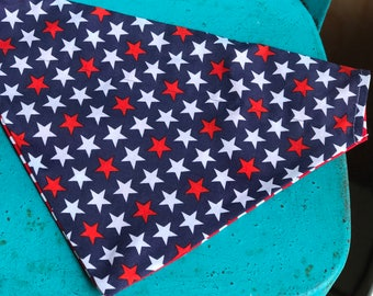 Reversible Dog Stars Bandana • Pet Neck Wear • Red White Blue Scarf for Dog • Fourth of July for Pet • Dog Cat Gift