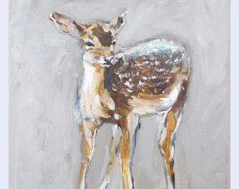 "Deer Painting Art Acrylic Original // ""Little One"" 16 x 16"" on Canvas"