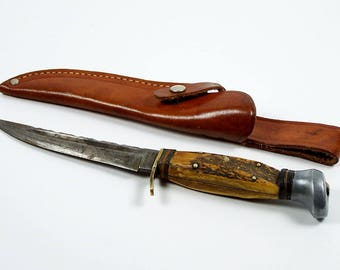 Vintage Olsen Hunting Knife Fixed Blade Stag Handle Leather Sheath Germany