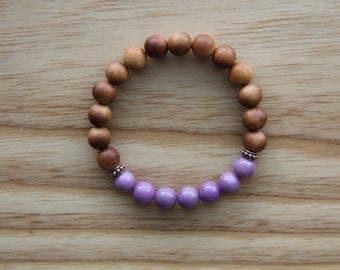 21 bead gemstone mantra bracelet, 8mm sandalwood + phosphosiderite bracelet, yoga jewelry, wrist mala