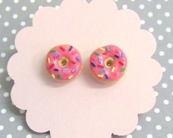 Cute Donut stud earrings, Donut Earrings, Hypoallergenic, Food Earrings, Cute Stud Earrings, Decora, Nickel Free, Gift For Her