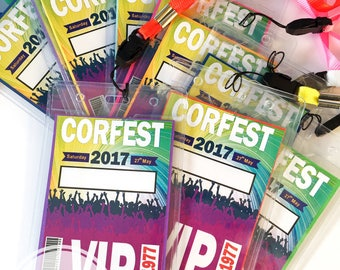 Festival lanyard rave birthday party celebration VIP Pass ticket bright bold exciting epic invitations