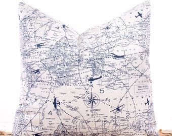 SALE ENDS SOON Navy Blue Pillow Covers, Throw Pillows, Pillow Slipcover, Cushions, Sofa Pillows, Nautical Map, 22 x 22""