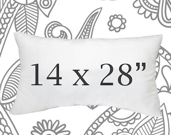 SALE ENDS SOON 14 x 28 Inch Pillow Forms, Faux Down Lumbar Pillows, Throw  Pillows, Couch Pillows, Down Pillows