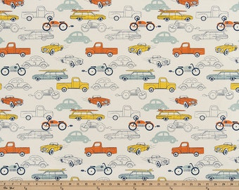 Premier Prints Retro Rides Maya Macon Home Decor Fabric, Retro Car Fabric, Cars Nursery Fabric, Orange Yellow Blue Cars Fabric - by 1/2 yard