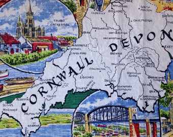 Vintage Linen Tea Towel, Vintage Kitchen, Vintage Linens, 1950s Tea Towel, Irish Linen, Cornwall and Devon, VTC175