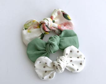 Rose Petal Knot Bow Headband Set...Hairbow set...baby gift
