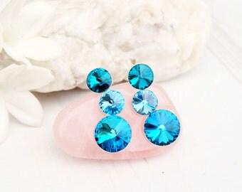 Sea blue Swarovski crystal earrings Bridesmaids wedding Swarovski jewellery Sterling Silver stud earrings 3 Rivoli earring Bermuda Blue
