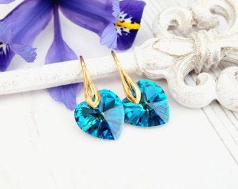 Turquoise blue Swarovski heart crystal earrings Blue heart jewellery Silver gold bridesmaids earrings gift Small kids earrings Bermuda Blue