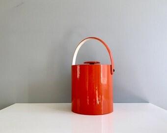 Mid Century Orange Ice Bucket
