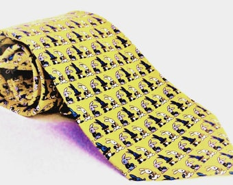 Marco Vidale 100% Italian Silk Rabbit Print  Men's Necktie Ties