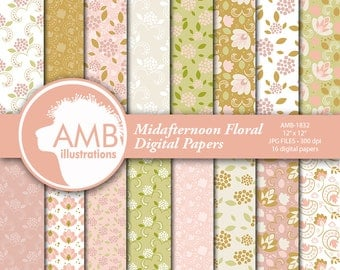 Floral papers, Midafternoon Florals Digital Paper, Shabby Chic papers, Pastel floral scrapbook papers, digital paper, , AMB-1832