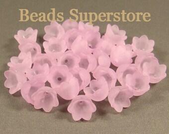 SALE 10 mm x 6 mm Violet Lucite Flower Bead - 20 pcs