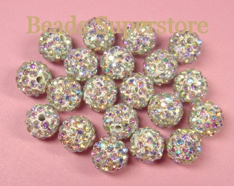 CLOSEOUT 8 mm Crystal AB Pave Crystal Round Bead - Grade AAA - 10 pcs
