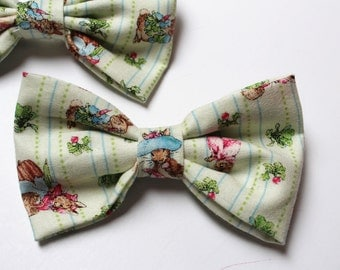 Toddler Bow Tie, 1 Little Boys Clip On Bow Tie, Peter Rabbit Fabric, Benjamin Bunny,  Beatrix Potter, Easter Bow Tie Bowtie
