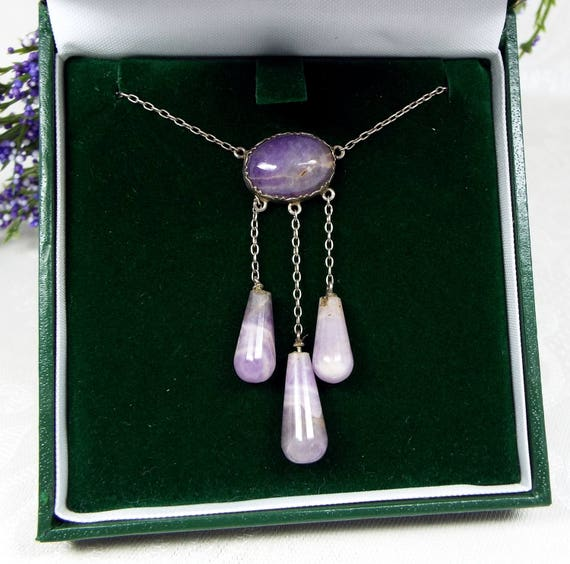 Antique Arts and Crafts Sterling Silver Blue John Amethyst Negligee Necklace