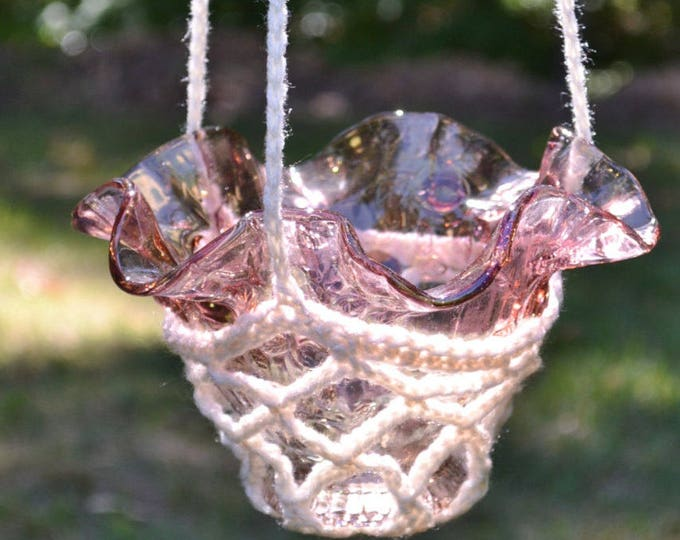 Crochet Candle Holder Hanging Plant Potpourri Upcycle Recycle Glass Lamp Shade Pink WhiteHandmade PanchosPorch